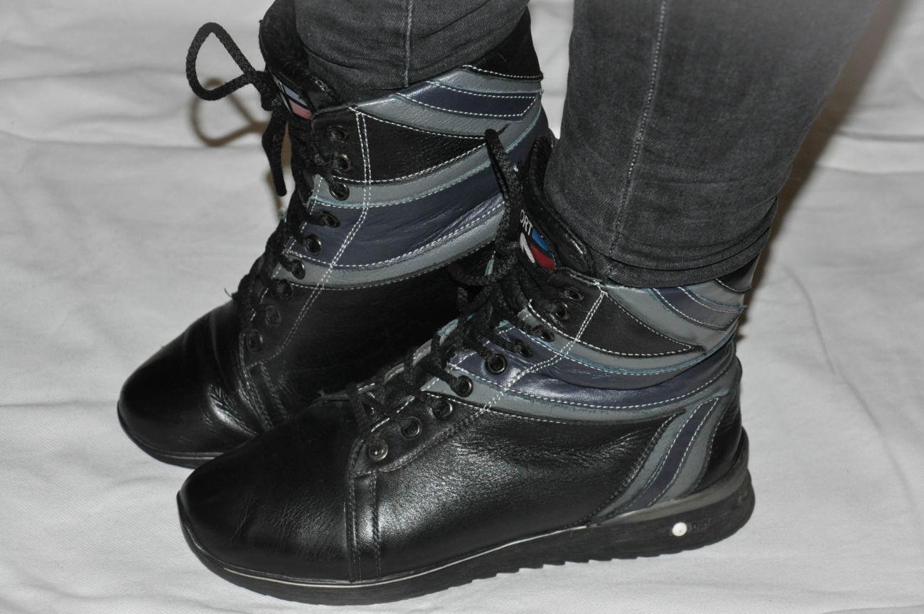 Фото 4 - Кожаные теплые ботиночки. р. 38, ст. 25см