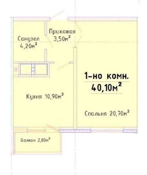 Фото 2 - ул. Толбухина. 1 комн. квартира, 41 кв.м.