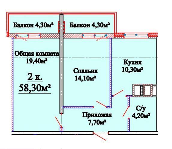 Фото 2 - ул. Бабеля, 2 комн. квартира 58 кв.м.