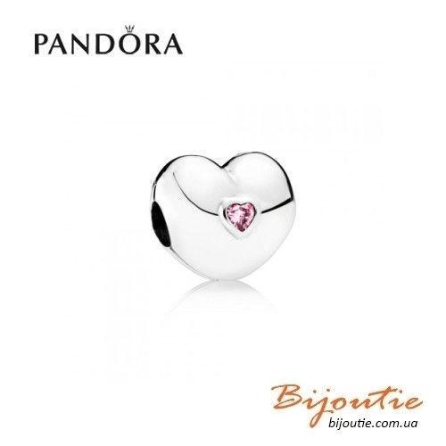 Фото - Оригинал Pandora шарм-клипса Твердое сердце 791981PCZ