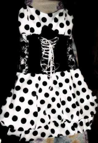 Платье девичье в горох.